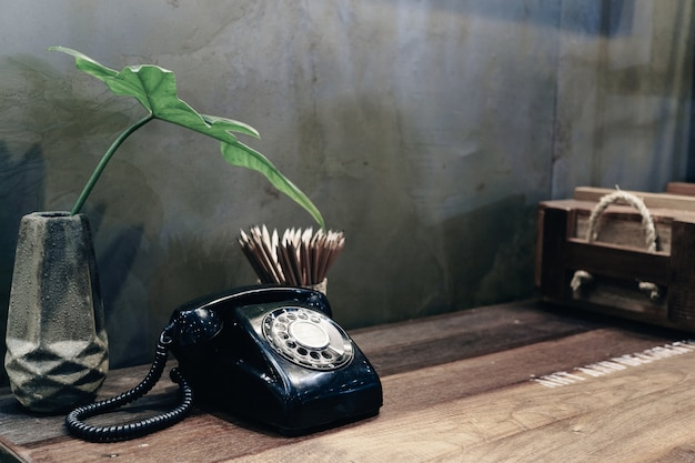Vintage retro telephone for room decoration in vintage style