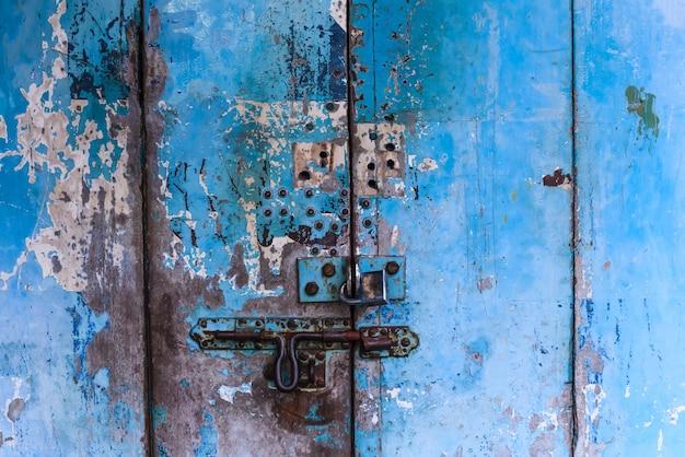 Vintage retro wooden door and slide lock. home interior architectural design