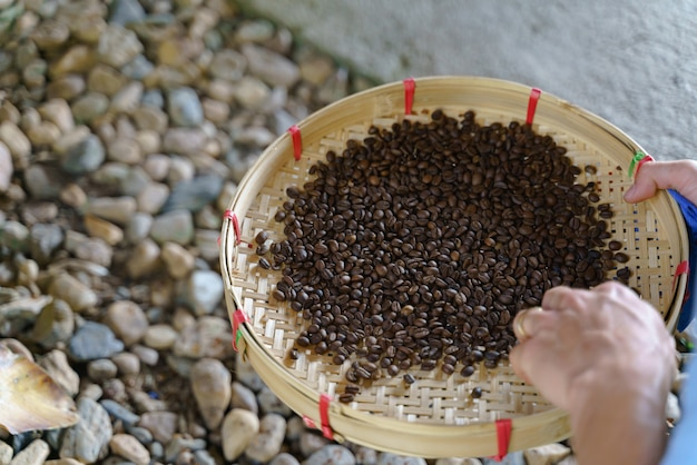 Vintage roasted coffee bean process