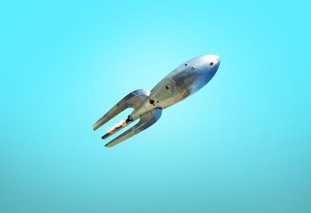 파란색에 빈티지 로켓입니다. 오래된 우주선이 이륙합니다. 화성 여행 개념
