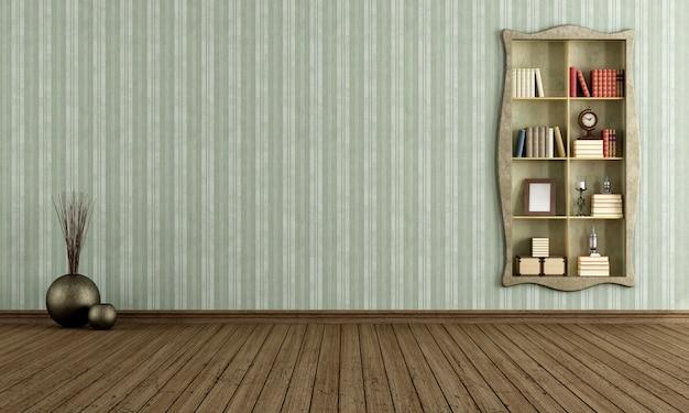 古い本棚とビンテージルーム
