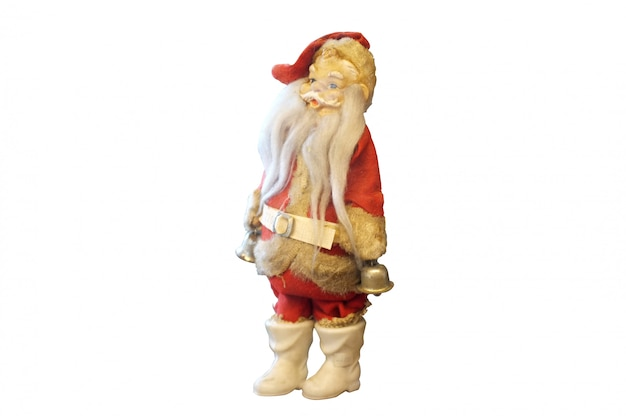Vintage santa claus doll on a white background