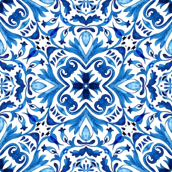 Vintage seamless ornamental watercolor arabesque paint tile design pattern for fabric and wallpapers