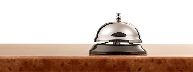 Vintage service bell at hotel reception - vintage filter