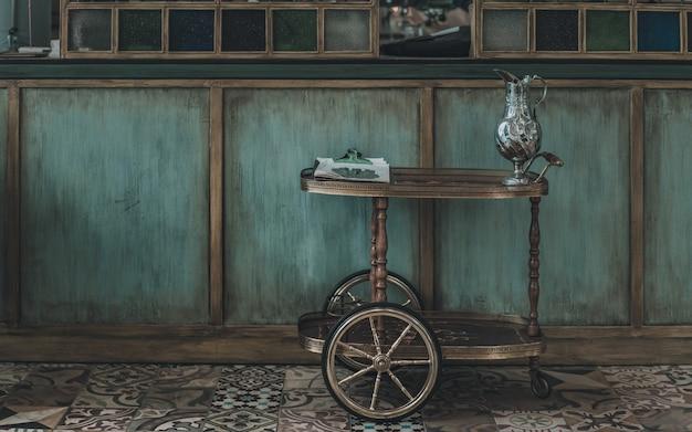 Vintage serving cart wheel