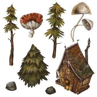 오래된 오두막, 숲, 집, 소나무, 나무의 빈티지 세트. 마녀 오두막 손으로 그린 그림 흰색 배경에 고립