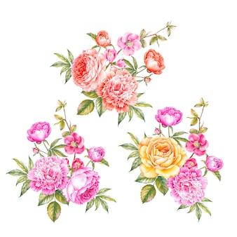 牡丹の花輪のビンテージセット。