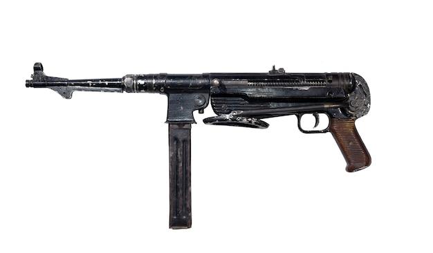 고립 된 접는 엉덩이와 빈티지 초라한 기관단총