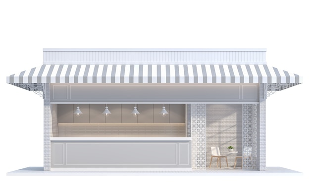 Vintage shop on white background  3d renderdecorate with white brick wallcanvas canopy