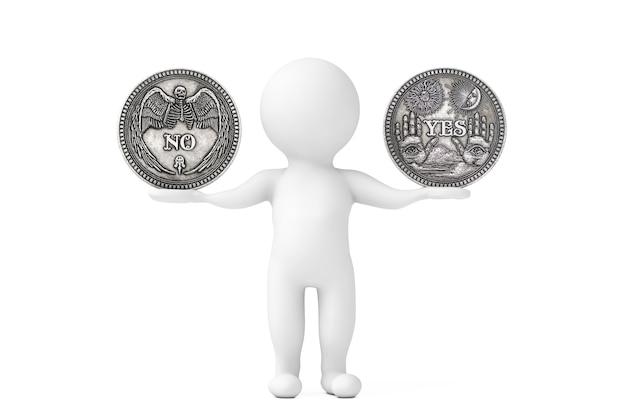 白い背景の上の3人のキャラクターの手で正しい選択、機会、幸運または人生のバランスをとるための「はい」と「いいえ」の言葉が付いたヴィンテージシルバーフリッピングコイン。 3dレンダリング