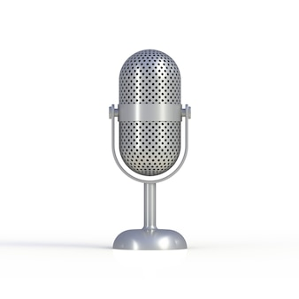 Vintage silver microphone isolated on white background, 3d rendering