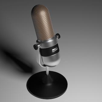 Винтажный серебряный микрофон на серой поверхности градиента 3d визуализации.