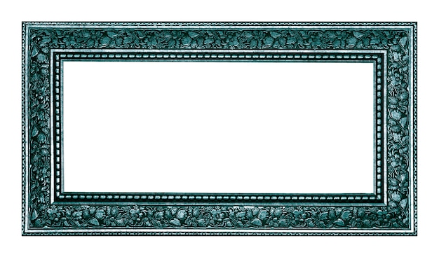 Vintage silver wood picture frame isolated on white background