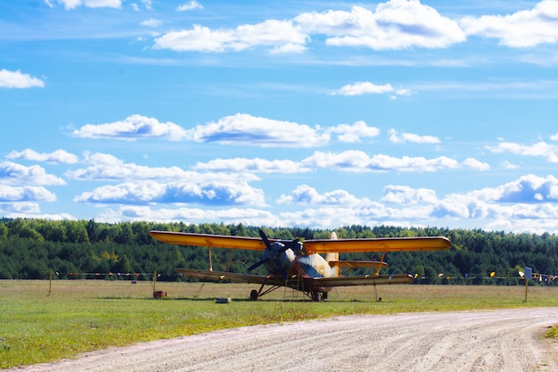 Vintage single-engine biplane aircraft