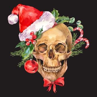 빈티지 해골 그림입니다. 수채화 나쁜 산타 크리스마스, 블랙에 꽃 해골 인사말 카드