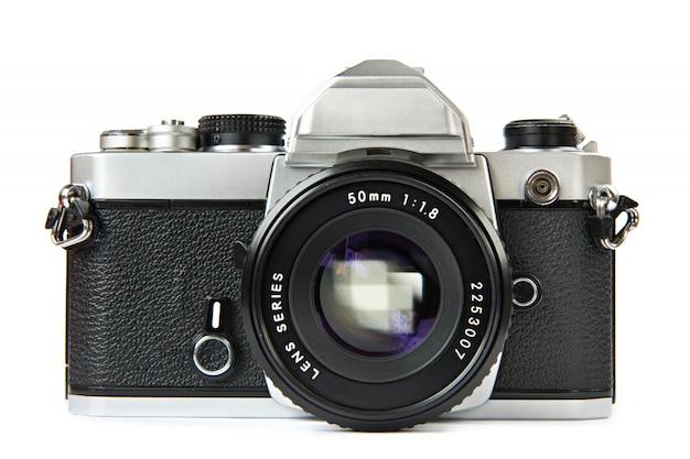 分離されたビンテージ一眼レフカメラ