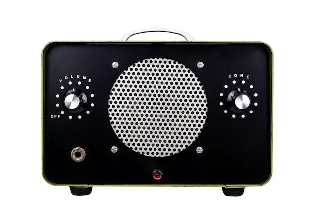 클리핑 패스가 있는 흰색의 vintage solid state amp full fidelity 빈티지 앰프 앰프