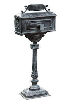 Vintage standing mailbox isolated on white with clipping path