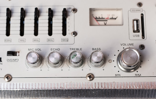 Vintage stereo system close up