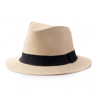 Vintage straw hat with black ribbon for man isolated