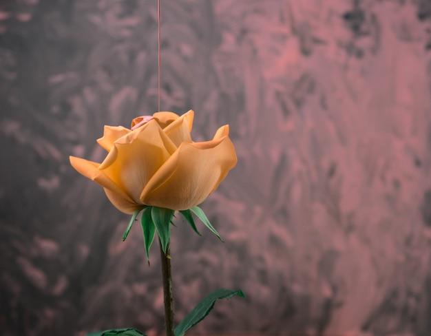 アクリルテクスチャ背景と黄色いバラに注ぐビンテージスタイルのアクリル流体の色