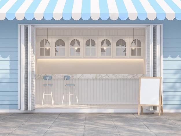 빈티지 스타일의 파란색과 흰색 커피숍은 대리석 탑 카운터 3d 렌더로 장식