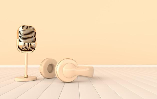 빈티지 스타일 헤드폰 및 마이크 레트로 이어폰 및 마이크 현실적인 3d 렌더링