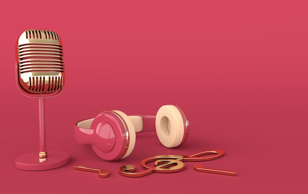 Vintage style headphones and microphone