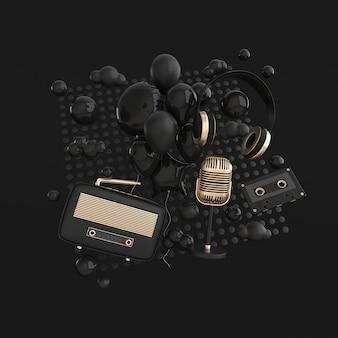 ヴィンテージスタイルのヘッドフォンラジオ受信機カゼット雲とマイク黒色と金色のディテール
