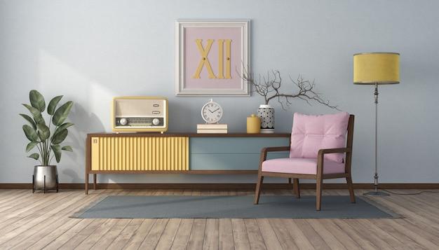 파스텔 색상, 찬장 및 분홍색 안락 의자가있는 빈티지 스타일의 거실-3d 렌더링