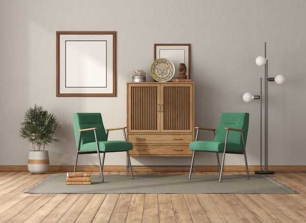 Гостиная в винтажном стиле с деревянным буфетом и зелеными креслами - 3d-рендеринг