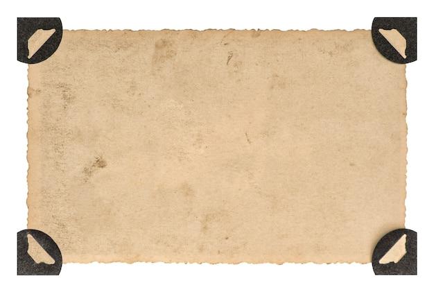 ヴィンテージスタイルのフォトフレーム。白い背景で隔離の角を持つ古い写真用紙