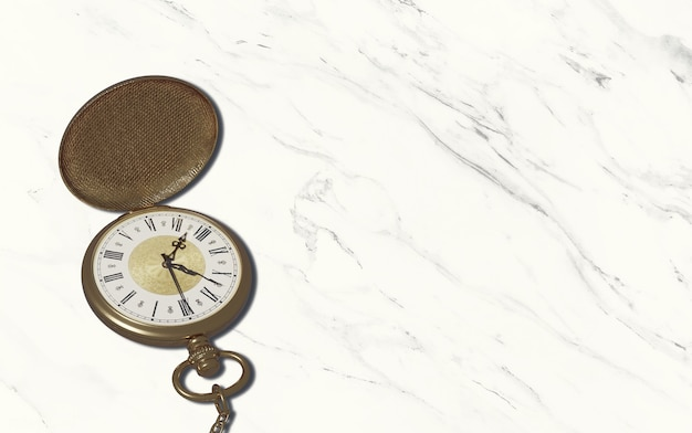 복사 영역이있는 대리석 바닥에 빈티지 스타일 회중 시계 스톱워치