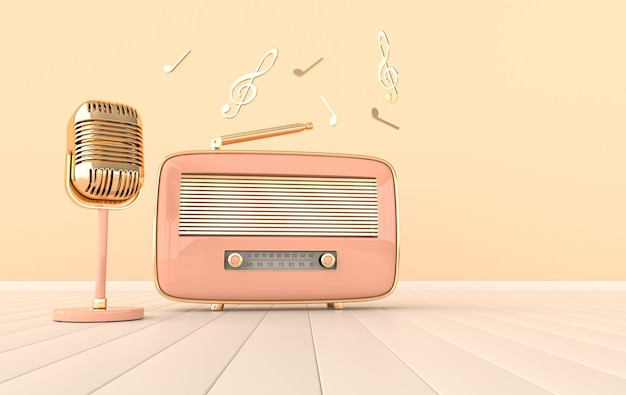 Радиоприемник и микрофон в винтажном стиле