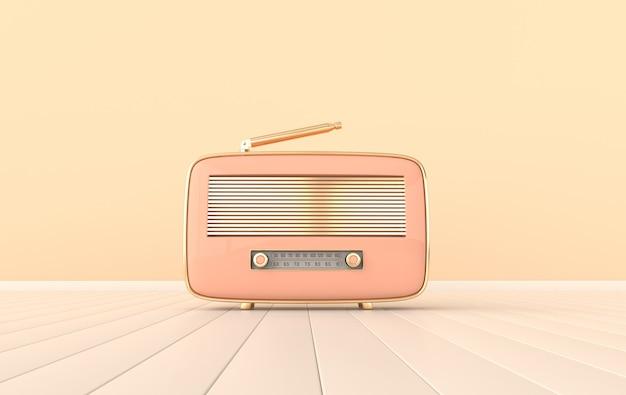 흰색 바닥에 빈티지 스타일 라디오 수신기
