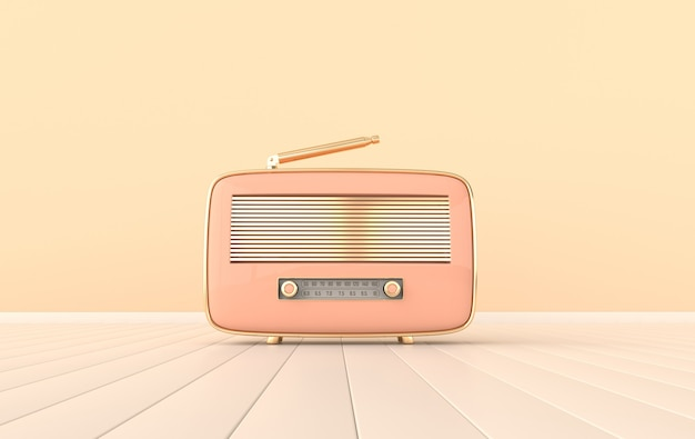 Vintage style radio receiver on white floor