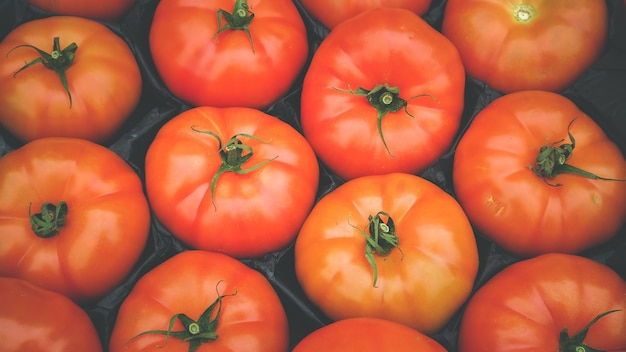 Vintage style of top view texture red tomatoes put in box ready to sell in local market