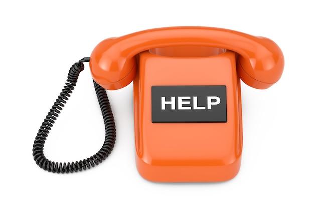 白い背景にヘルプサイン付きのビンテージスタイルの回転式電話。 3dレンダリング