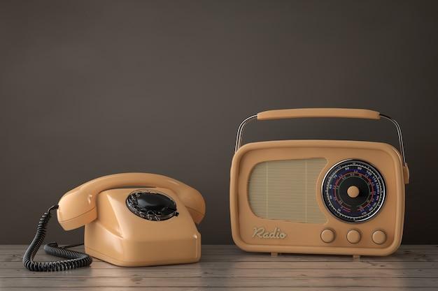 나무 테이블에 레트로 라디오와 빈티지 스타일 로타리 전화. 3d 렌더링