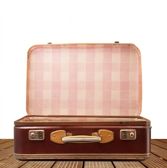 Vintage suitcase on white