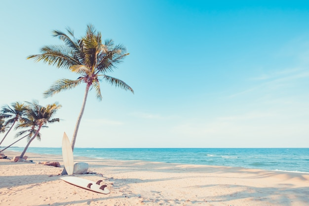 여름에 열 대 해변에서 야자수와 빈티지 서핑 보드. 빈티지 색조 프리미엄 사진
