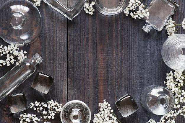 Vintage table with glass bottls