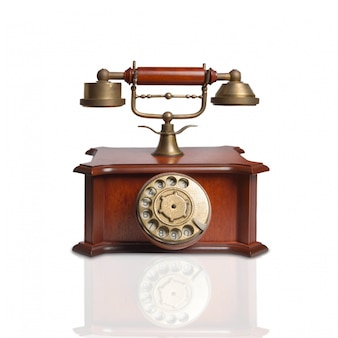 Vintage telephone made of wood