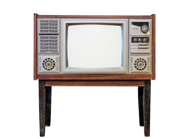 Vintage television - antique wooden box television.