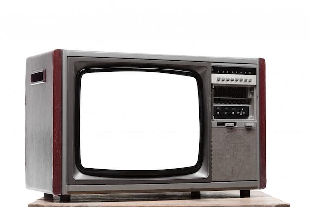 孤立した背景に画面を切り取るとビンテージテレビ