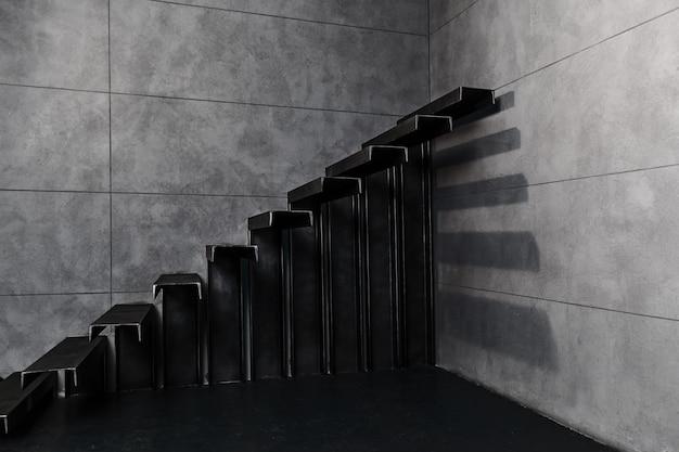 デザインのための壁の近くの手すりのない金属製の階段のヴィンテージの質感