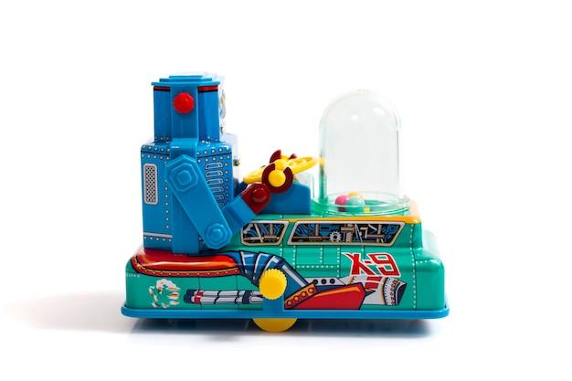Vintage tin robot toy isolated