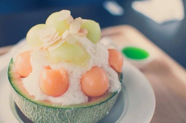 Vintage tone - ice melon bingsu, famous korean ice-cream.