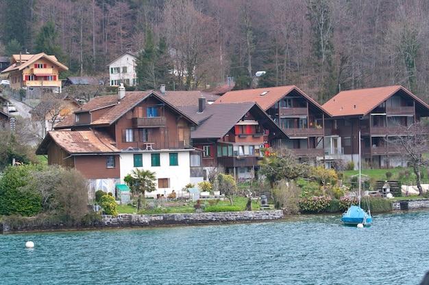 Vintage town landscape around lake thun, switzerland