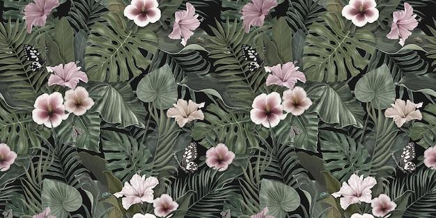 ハイビスカスの花蝶熱帯の葉植物の背景を持つヴィンテージ熱帯パターン